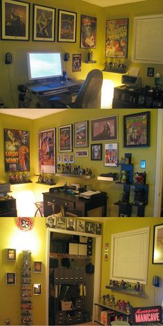 geeked out man cave... Like the storage/display for figures and such
