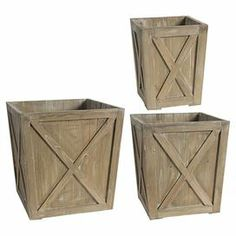 """Perfect for flanking your patio furniture or accenting the pool area, this essential wood planter set adds rustic-chic style to your outdoor decor.   Product: Small, medium and large planterConstruction Material: Fir wood, engineered wood and PVCColor: NaturalDimensions: Small: 12.5"""" H x 10"""" W x 10"""" D Medium: 15.8"""" H x 14"""" W x 14"""" D Large: 19"""" H x 17.8"""" W x 17.8"""" D"""