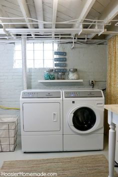 To make a basement laundry room comfortable enough that you'll want to spend time there, paint the walls a soothing color, install good lighting, and decorate like you want. #basement laundry room #basement (laundry room ideas) Tags: basement laundry room ideas, basement laundry room makeover,unfinished basement laundry room