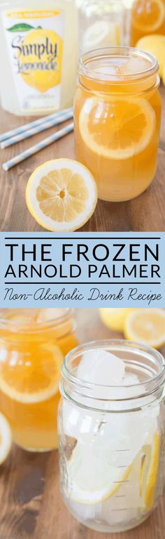 A crisp refreshing summer: a frozen Arnold Palmer! It's a delicious non-alcoholic beverage made with lemonade and iced tea.