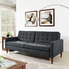 Holden Fabric Convertible Sofa Bed Gray or BrownSolid Wood FrameMetal Legs in Wood FinishBy Lifestyle Solutions
