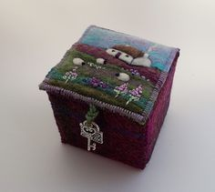Textile Trinket Box Cottage Sheep Felt Harris Tweed by AileenClarkeCrafts on Etsy