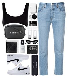 """""""Air Force Low"""" by breilachristou ❤ liked on Polyvore featuring River Island, NIKE, RE/DONE, Balenciaga, Bobbi Brown Cosmetics, Grown Alchemist, Acne Studios, MAC Cosmetics, Le Specs and NARS Cosmetics"""