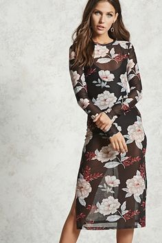 Sheer Floral Bodycon Dress