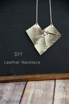 Leather Geometric Heart Necklace | DIY Valentine's Day Jewelry by @mesewcrazy