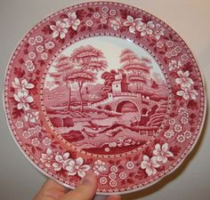 Red Pink Toile Transferware Plate Spode English china plate vintage perfect 9 inches