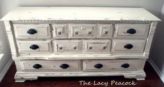 Antique White Cottage Style Dresser/TV Stand/ Buffet/ Changing Table via Etsy