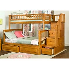 atlantic furniture columbia staircase bunk bed with bed drawers twin over full color brown - Etagenbett Couch Lego Film