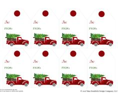 Free Christmas Truck Printable Tags