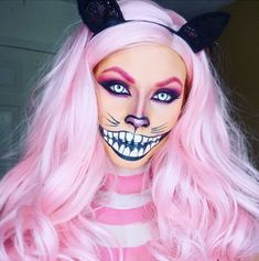 This feline-meets-skeleton makeup is seriously spooky — especially with the circle lenses. #refinery29 http://www.refinery29.com/2016/10/124960/cool-halloween-diy-makeup-ideas-photos#slide-8