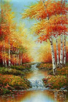 White birch forest,oil painting