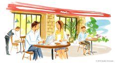 ayako onozuka #illustration #Fashion #Watercolor #イラストレーション #女性 #Woman #小野塚綾子 #cafe