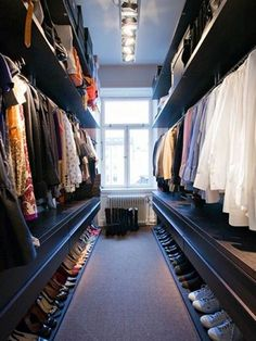 long narrow walk in wardrobe designs with hanging rails and open shelving and shoes storage : Home Walk In Wardrobe Designs. home walk in wardrobe,walk in wardrobe designs,walk in wardrobe ideas,walk in wardrobe interiors,wardrobe walk in design Closet Bedroom, Master Closet, Closet Space, Hallway Closet, Huge Closet, Bedroom Wardrobe, Bedroom Small, Master Bedrooms, Diy Bedroom
