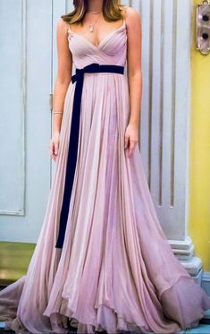 Gorgeous Straps V Neck Chiffon Long Prom Dress Pale Pink Formal Evening Gown Elegant Prom Gown #dress #gown #prom #prom2018 #homecoming #formaldress #formalgown #weddingparty #promdress #promgown #evening #eveningdress #eveninggown #fashion