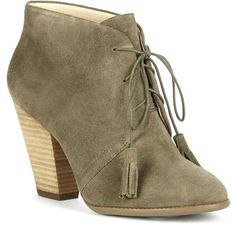 Sole Society Tallie Suede Tassel Bootie ($90) ❤ liked on Polyvore featuring shoes, boots, ankle booties, army, lace up boots, ankle boots, suede lace-up boots, suede ankle boots and high heel ankle boots