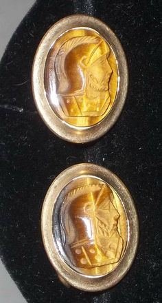 Vintage 12k Gold Filled Tiger Eye Carved Roman Cuff Links Head Warrior Cufflinks by ShonnasVintage, $99.99
