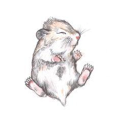 Lil' hamster by krisztiballa #krisztiballa #hamster #illustration #animalillustration #bw #details #ballpointpen
