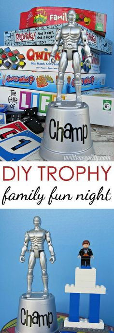 Make a Trophy for Family Game Night – Written Reality Looking for a fun way to celebrate family game night? Here's how to make your own homemade trophy for extra family fun. Who'll be the next Family Game Night champ? Adult Games, Games For Teens, Couple Games, Family Games, Family Activities, Family Family, Family Theme, Family Bonding, Couple Ideas