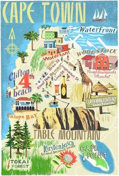 Lugares por visitar en / CapeTown Illustrated Map Idea: buy illustrated maps of each place visited. Travel Maps, Africa Travel, Le Cap, Cape Town South Africa, South Africa Map, South Afrika, Table Mountain, Thinking Day, Vintage Travel Posters