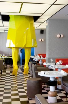 Germain by India Mahdavi in Paris, France. Sophie sculpture by Xavier Veilhan. Furniture by India Mahdavi. Photo © Derek Hudson. / http://www.yatzer.com/india-mahdavi-home-chic