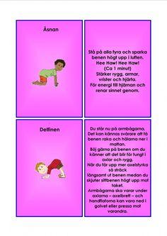 Barnyoga kort. Yoga For Kids, Exercise For Kids, Learn Swedish, Swedish Language, Massage, Yoga Meditation, Learning, Health, Tips