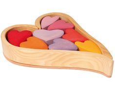 Grimm's - Wooden Building Blocks Hearts