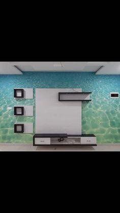Customised Wallpaper: Living room by C J Sheth & Co Tv Unit Furniture Design, Tv Unit Interior Design, Interior Work, Best Living Room Design, Living Room Tv Unit Designs, Home Room Design, Modern Tv Unit Designs, Modern Tv Wall Units, Tv Unit Decor