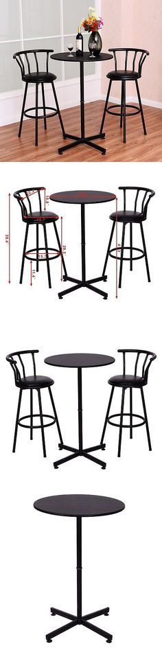 furniture: 3 Piece Bar Table Set With 2 Stools Bistro Pub Kitchen Dining Furniture Black -> BUY IT NOW ONLY: $84.99 on eBay!