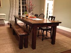 Fall is right around the corner! Here's Jenny's 10ft farmhouse table and bench in our dark walnut stain. We love the mix-matched chairs she used to complete the set. www.carpenterjames.com