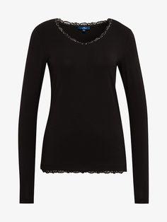 Langarmshirt mit Spitze - Frauen - Black Toms, Blouse, Long Sleeve, Sleeves, Fashion, Lace, Fashion Women, Woman, Moda