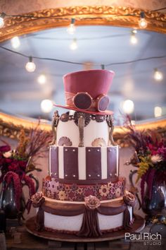 Weddings on the Water Showcase: Steampunk Wedding Inspiration // photography by Paul Rich Studio // steampunk cake by Artisan Cake Company // vintage rentals by Something Borrowed Portland #steampunk #steampunkwedding