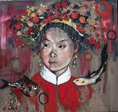 BRIDAL SHOWER, Hung Liu (b1948, Changchun, China; based in California since 1984)