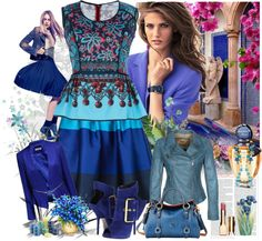 """blue"" by ninigreen ❤ liked on Polyvore"