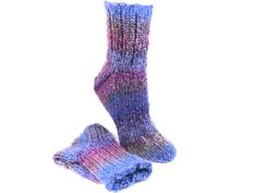Hand Knit Socks For Cold Feet Cozy Wool Blend for Warmth Unisex US 7 to 9 Purple Cobalt Blue Tweed Stripes Handmade Bed Socks 140 SPECTRUM