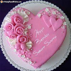 Heart Shaped Birthday Cake, Birthday Cake Write Name, Birthday Cake Writing, Happy Birthday Wishes Cake, Birthday Cake With Photo, Happy Birthday Cake Images, Birthday Cake Pictures, Cake Name, Beautiful Birthday Cakes