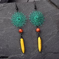 Flower Boho Earrings  Wire Crochet  with Natural by StudioDjewelry, $60.00