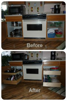 Still trying to make do with a shelf-and-a-half in your #KitchenCabinets ? Trade up to custom #PullOutShelves and enjoy the extra room and the full-extension convenience!  http://www.shelfgenie.com/