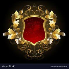 Red Shield with an Oak Branch vector image on VectorStock Royal Logo, Branch Vector, Gold Background, Golden Oak, Graphic Illustration, Design Illustrations, Coat Of Arms, Black Backgrounds, Design Elements