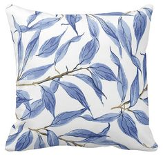 Pillow Cover Blue Leaves Watercolor Branches by JolieMarche