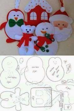Risultati immagini per moldes de natal Christmas Makes, Noel Christmas, Homemade Christmas, Christmas Animals, Felt Christmas Decorations, Felt Christmas Ornaments, Tree Decorations, Christmas Projects, Holiday Crafts