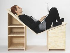 modular shelving system - This aesthetic looking and chic, modular shelving system by Melbourne furniture designer Alex O'Connell combines the latest in design innovation . Design Furniture, Chair Design, Home Furniture, Funky Furniture, Small Space Design, Small Spaces, Desktop Design, Modular Shelving, Modern Desk