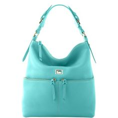 Medium Zipper Pocket Sac in Aqua