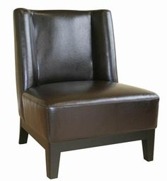 Low-Slung Dark Brown Bycast Leather Chair