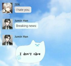 Mystic Messenger Zen and Jumin I can totally see this happening too. Jumin Han Mystic Messenger, Messenger Games, Film Anime, Saeran, Physical Pain, Shall We Date, Comic, Funny Memes, Hilarious
