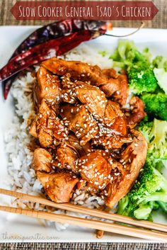 Slow Cooker General Tsao's Chicken - I'd like to try it with Splenda brown sugar and over veggies instead of rice!