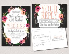 Wood or Solid Background Floral Wedding, Party or Shower Invitation