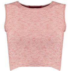 Boohoo Pearl Sleeveless Rib Crop ($14) ❤ liked on Polyvore featuring tops, sweaters, pink sleeveless top, ribbed top, pink crop top, flat top and sleeveless sweater