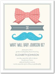 Bow or Boy - Baby Shower Invitations - Magnolia Press - Ore - Gray : Front