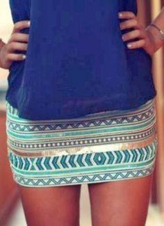 Lovely aqua gold embroidered mini skirt fashion