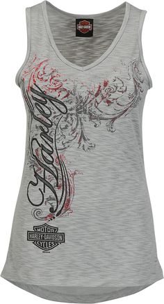 Harley-Davidson® Shirt, Women's Tank Top Griffin Fury, Wings, Gray